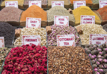 Selection of herbal teas at a market stall
