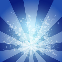 Abstract blue background is white blotches and stripes at center