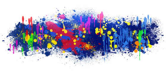 Abstract background is colored blots on white