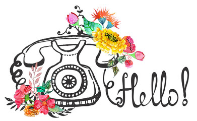 Retro graphic phone and watercolor flowers