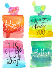 Abstract stylish watercolor background collection