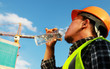Construction worker, water drink - 81048595
