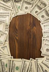 dollars money banknotes on wood