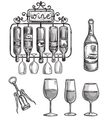 Iron cast wine holder, bottles and glasses