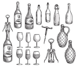 Set of wine bottles, glasses and corkscrews