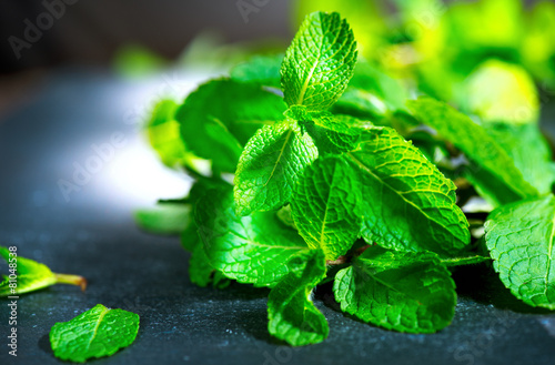 Mint. Fresh mint on a table closeup - 81048538