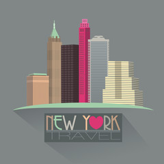 new york skyline travel symbol