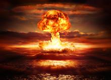 "Постер, картина, фотообои ""explosion nuclear bomb in ocean"""