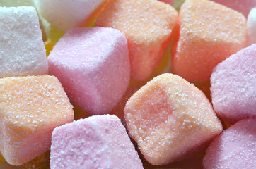 Sour jelly pink, orange and white candy
