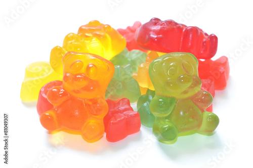 Fotobehang Snoepjes Heap of colored gummy bears isolated on white