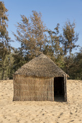 Typical West-African hut with a straw roof
