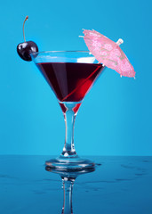 cocktail  with cherry closeup