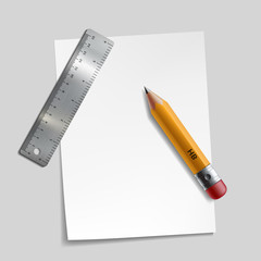 Pencil, metal ruler and a piece of paper.