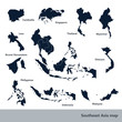 Asian Economic Community, Association of Southeast Asia map vect - 81049930