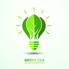 Ecology idea green bulb with leave vector illustration