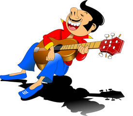cheerful guitarist sings a love song, vector and illustration