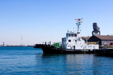 Yokohama Bay white guard ship,Background factory area