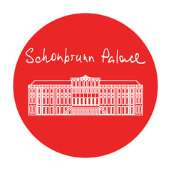Vienna Schonbrunn Palace vector red circle icon in linear style