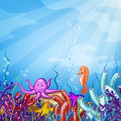 Illustration with underwater world