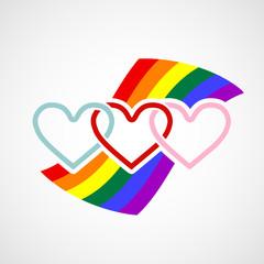 Logo hearts on rainbow background.