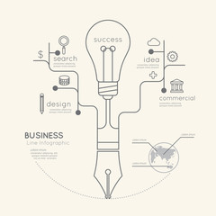 Flat linear Infographic Business Education Pen Tree with Light b