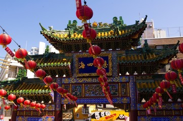 chinese temple in Yokohama city, japan,and New Year celebrations