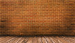 Wood floor and red brick wall background - 81051366
