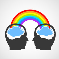 Silhouette of a man's head with a rainbow and clouds.