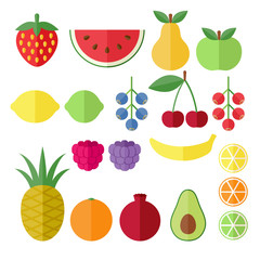 Set of fruits and berries flat icons.