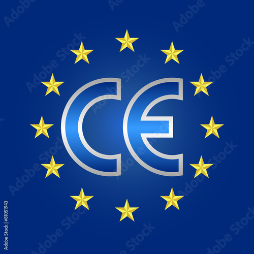 poster of CE mark of quality, conformity marking sign