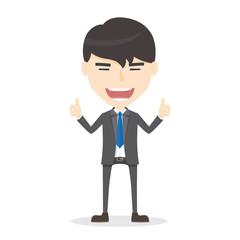 Businessman manager thumbs up. good job