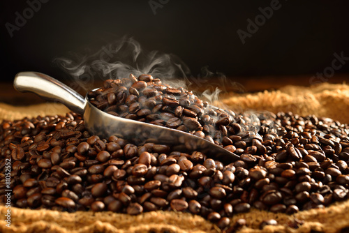 Coffee beans with smoke on burlap