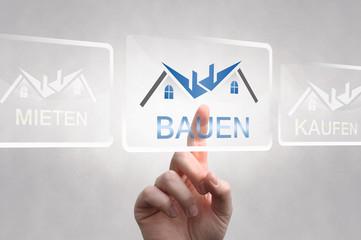 Haus Bauen, symbol, touch screen