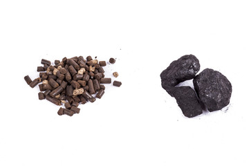 Coal and biomass pellet on white background.
