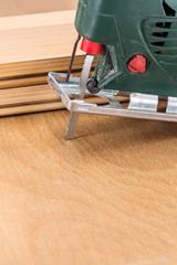 Close up electric jigsaw tool