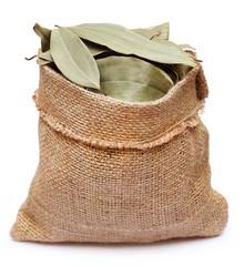 Bay leaves in sack bag
