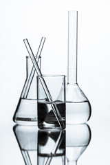 set of chemical glass flask