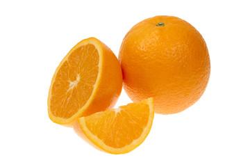 Orange fruit half and one segment isolated on white background