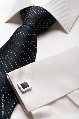 White men shirt with a black tie - 81054731