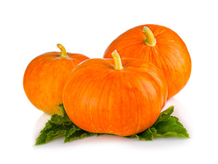 Ripe pumpkin vegetables with green leaves isolated