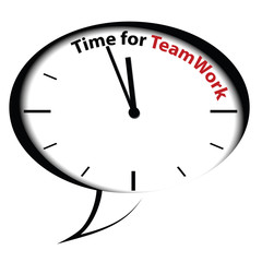 """Bubble clock """"Time for Teamwork"""", vector"""