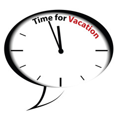 """Bubble clock """"Time for Vacation"""", vector"""