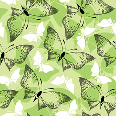 Seamless pattern with black dotted butterflies