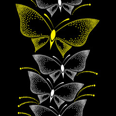 Seamless pattern with dotted white and yellow butterflies
