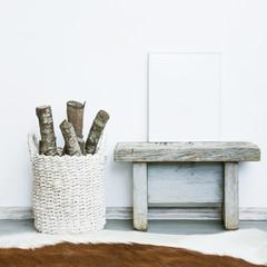 white frame.  Mock up.  Hipster scandinavian room interior