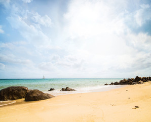 Summer beach (sky, sea and rocks). Nature background.