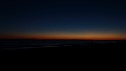 Mediterranean sea at dusk, Ostia, Rome