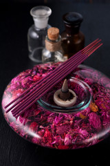 Incense sticks  and essential oils. aromatherapy