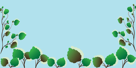 frame from twigs with leaves