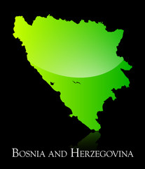 Bosnia and Herzegovina green shiny map